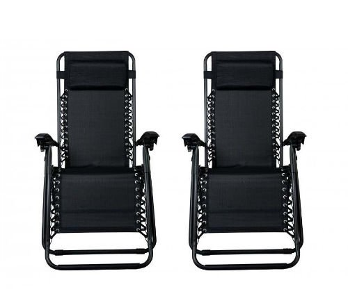 The Zero Gravity Black Lounge Patio Chairs front-w500-h500